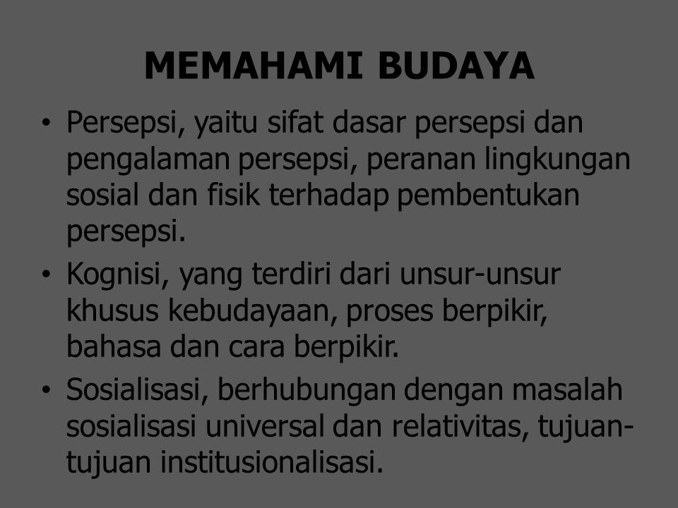 MEMAHAMI BUDAYA Persepsi, yaitu sifat dasar persepsi dan pengalaman persepsi, peranan lingkungan sosial dan fisik terhadap pembentukan persepsi.