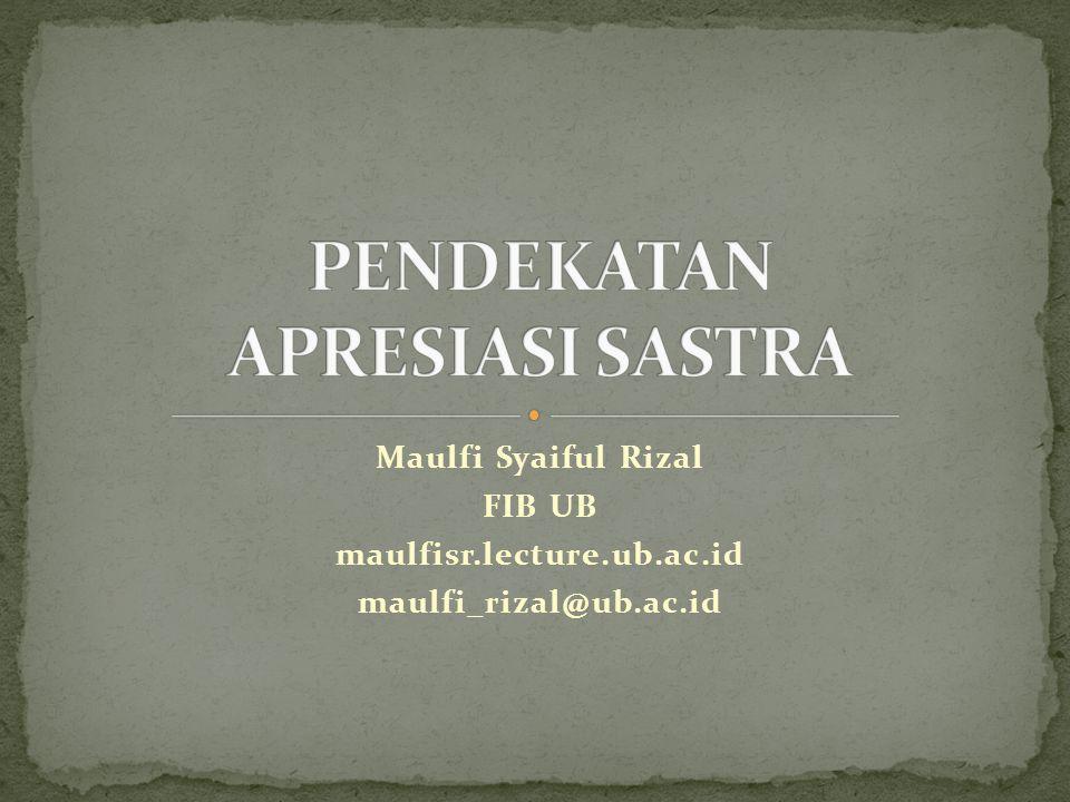 PENDEKATAN APRESIASI SASTRA