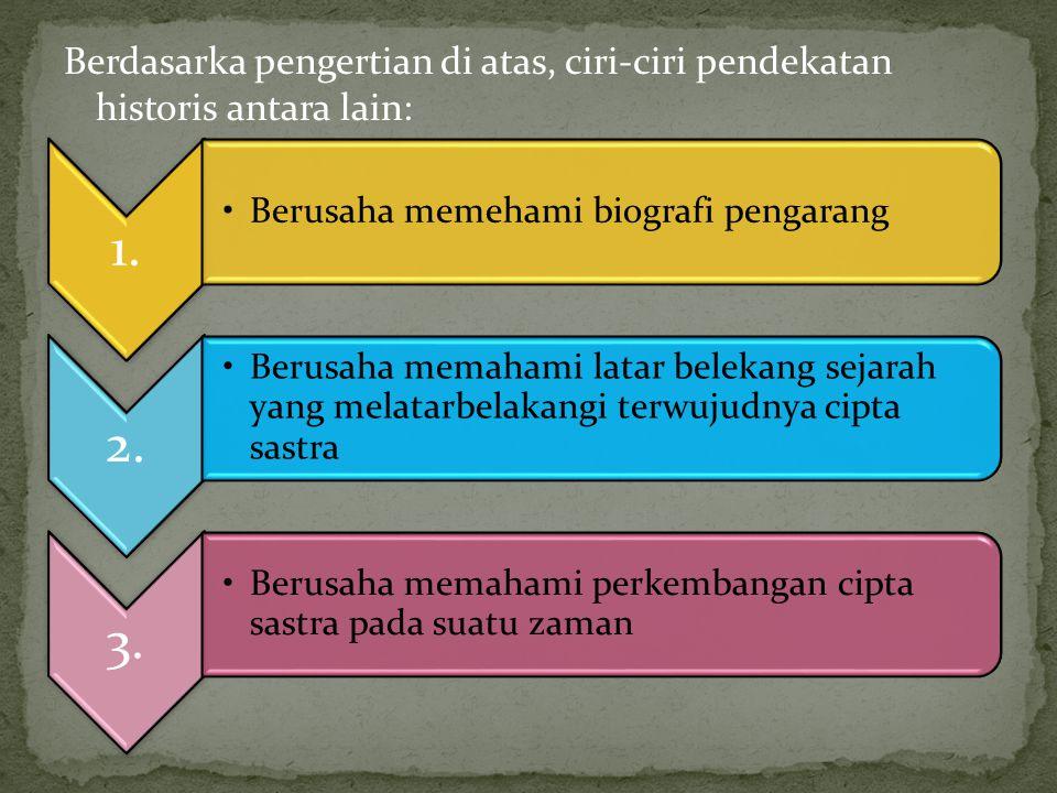 Berdasarka pengertian di atas, ciri-ciri pendekatan historis antara lain: