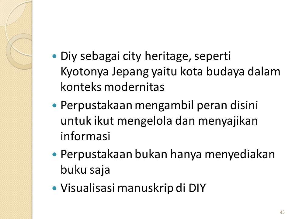 Diy sebagai city heritage, seperti Kyotonya Jepang yaitu kota budaya dalam konteks modernitas