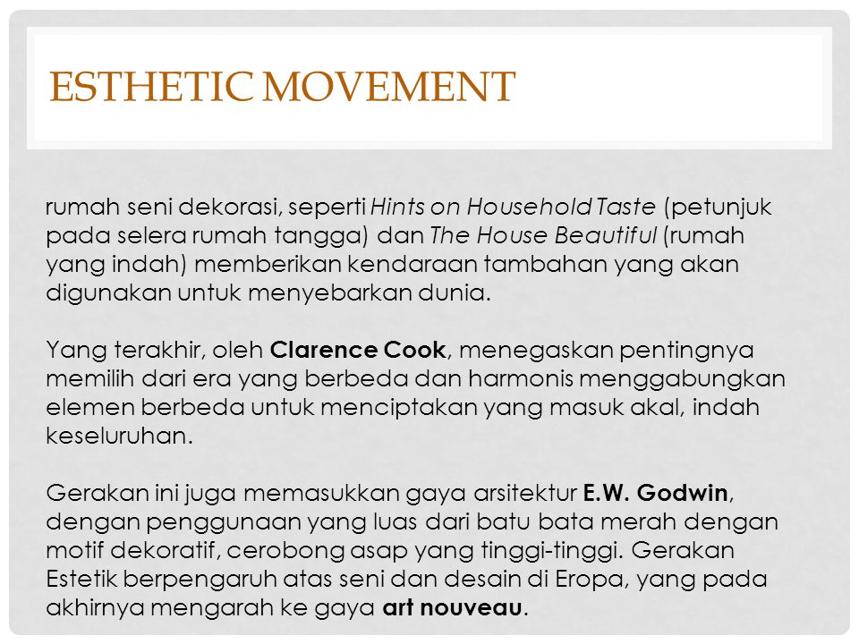 ESTHETIC movement