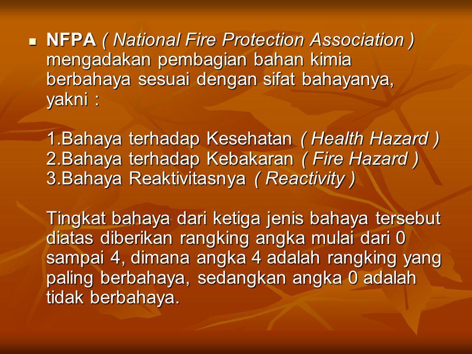 NFPA ( National Fire Protection Association ) mengadakan pembagian bahan kimia berbahaya sesuai dengan sifat bahayanya, yakni : 1.Bahaya terhadap Kesehatan ( Health Hazard ) 2.Bahaya terhadap Kebakaran ( Fire Hazard ) 3.Bahaya Reaktivitasnya ( Reactivity ) Tingkat bahaya dari ketiga jenis bahaya tersebut diatas diberikan rangking angka mulai dari 0 sampai 4, dimana angka 4 adalah rangking yang paling berbahaya, sedangkan angka 0 adalah tidak berbahaya.