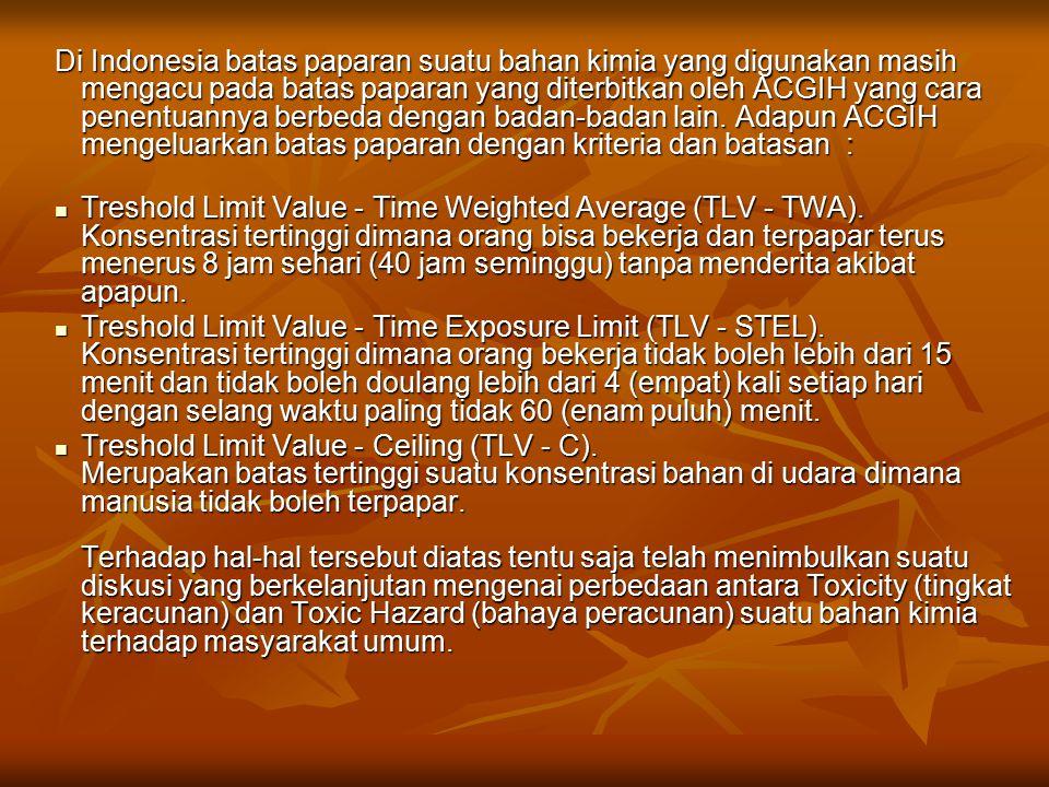 Di Indonesia batas paparan suatu bahan kimia yang digunakan masih mengacu pada batas paparan yang diterbitkan oleh ACGIH yang cara penentuannya berbeda dengan badan-badan lain. Adapun ACGIH mengeluarkan batas paparan dengan kriteria dan batasan :