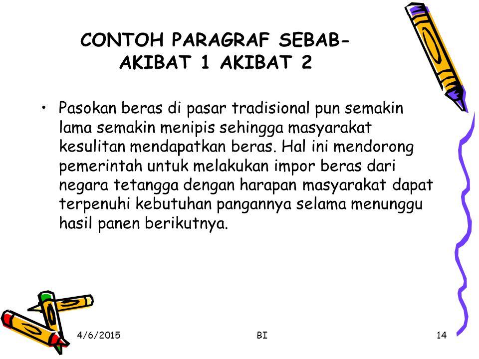 CONTOH PARAGRAF SEBAB- AKIBAT 1 AKIBAT 2