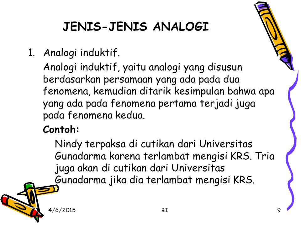 JENIS-JENIS ANALOGI Analogi induktif.