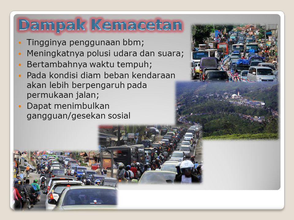 Dampak Kemacetan Tingginya penggunaan bbm;