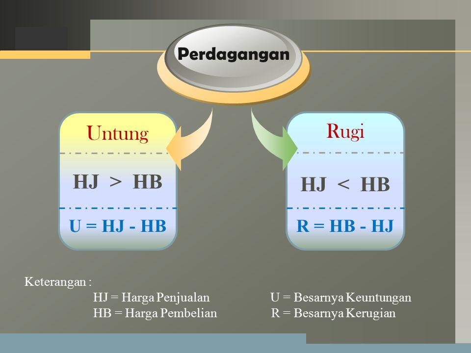 Rugi Untung HJ > HB HJ < HB Perdagangan U = HJ - HB R = HB - HJ