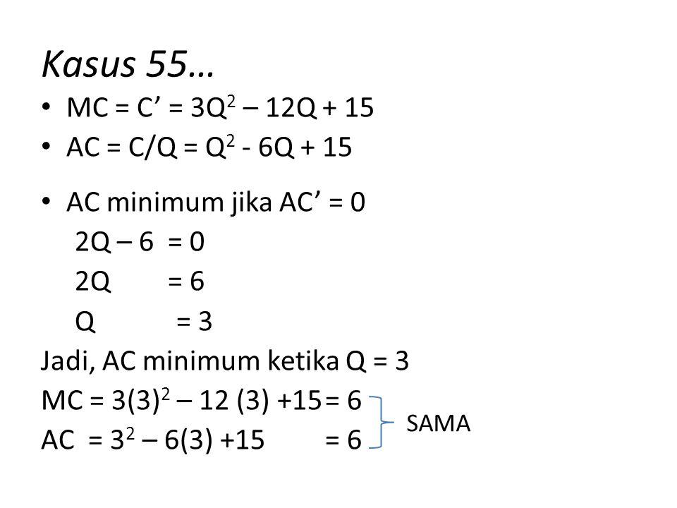 Kasus 55… MC = C' = 3Q2 – 12Q + 15 AC = C/Q = Q2 - 6Q + 15