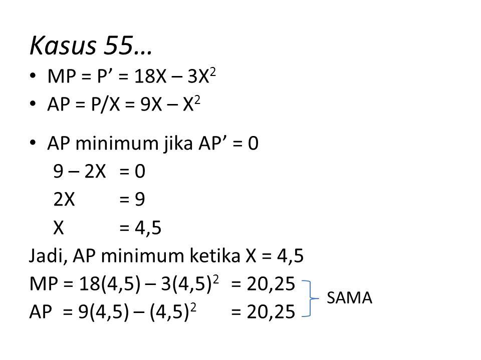 Kasus 55… MP = P' = 18X – 3X2 AP = P/X = 9X – X2