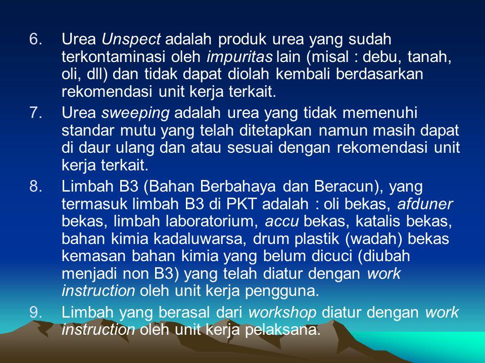 Urea Unspect adalah produk urea yang sudah terkontaminasi oleh impuritas lain (misal : debu, tanah, oli, dll) dan tidak dapat diolah kembali berdasarkan rekomendasi unit kerja terkait.
