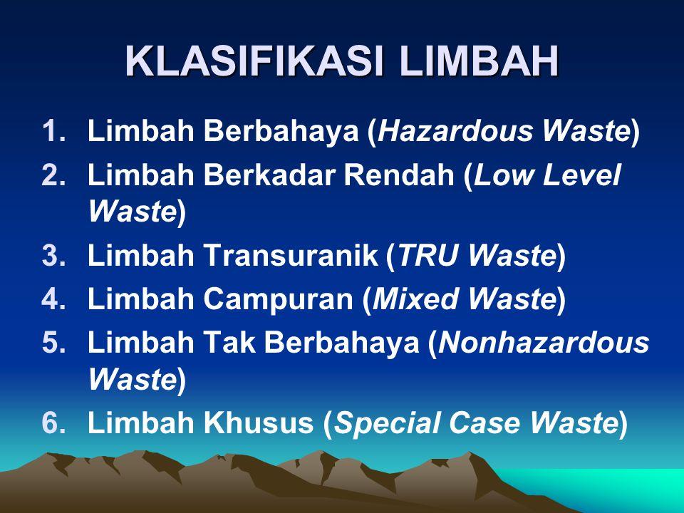 KLASIFIKASI LIMBAH Limbah Berbahaya (Hazardous Waste)