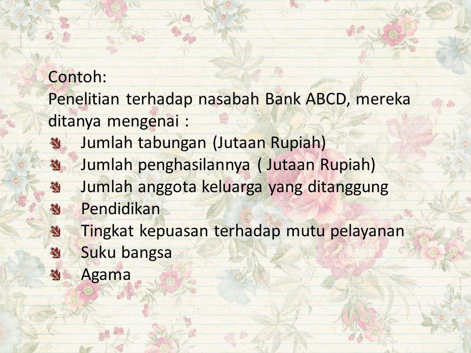 Contoh: Penelitian terhadap nasabah Bank ABCD, mereka ditanya mengenai : Jumlah tabungan (Jutaan Rupiah)