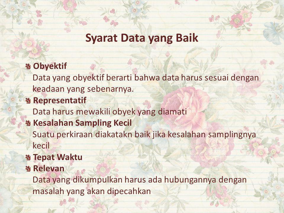 Syarat Data yang Baik Obyektif