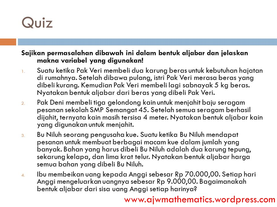 Quiz www.ajwmathematics.wordpress.com