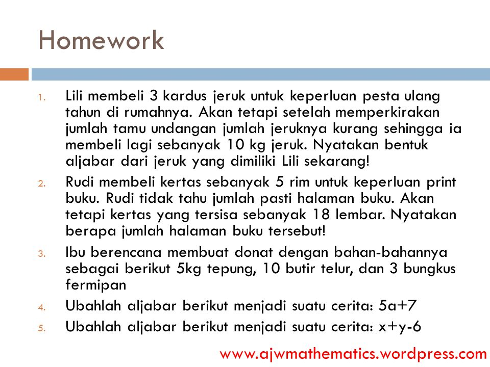 Homework www.ajwmathematics.wordpress.com