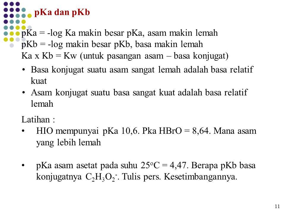 pKa = -log Ka makin besar pKa, asam makin lemah