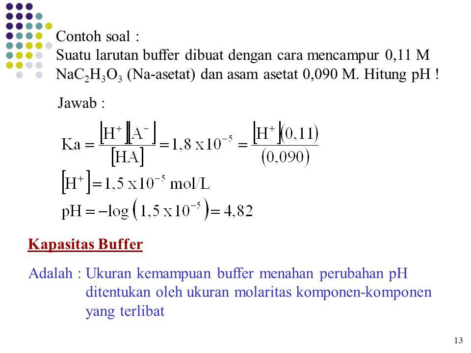Contoh soal : Suatu larutan buffer dibuat dengan cara mencampur 0,11 M NaC2H3O3 (Na-asetat) dan asam asetat 0,090 M. Hitung pH !