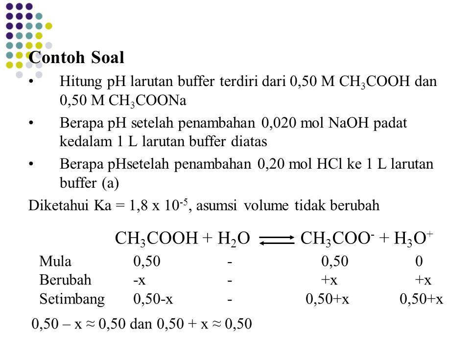 Contoh Soal CH3COOH + H2O CH3COO- + H3O+