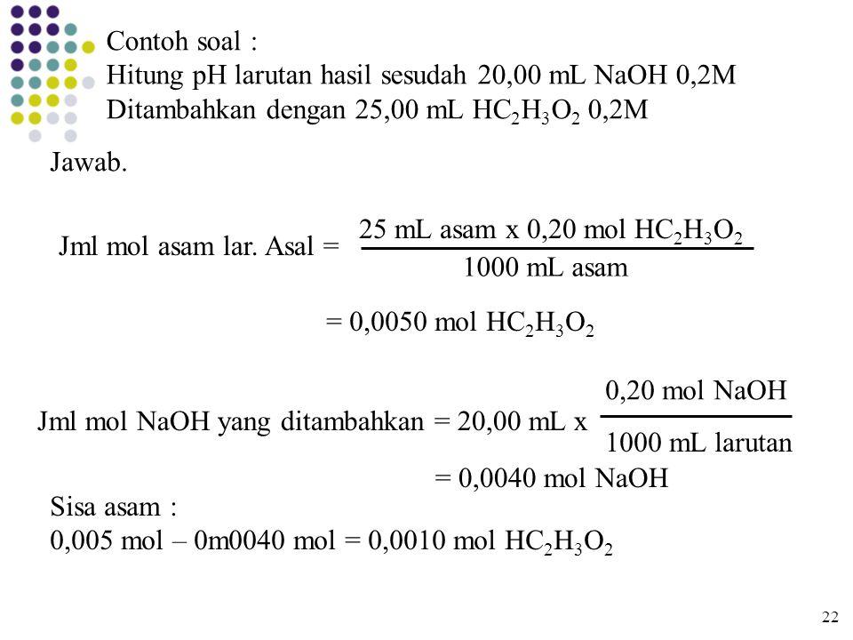 Hitung pH larutan hasil sesudah 20,00 mL NaOH 0,2M