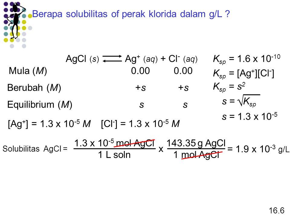  Berapa solubilitas of perak klorida dalam g/L
