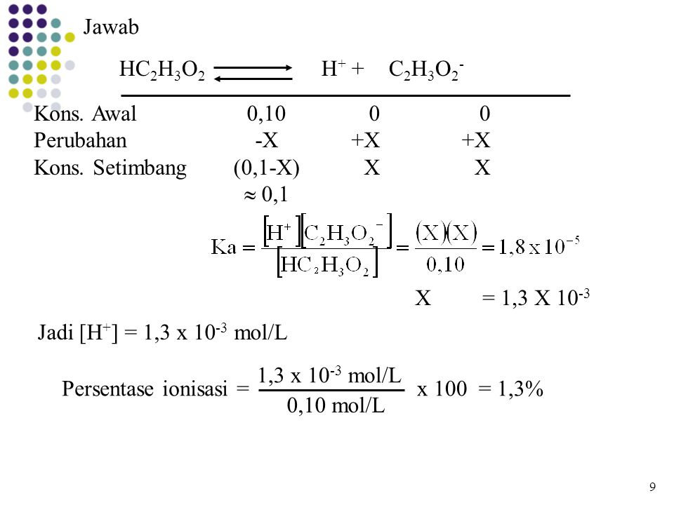 Jawab HC2H3O2 H+ + C2H3O2- Kons. Awal Perubahan Kons. Setimbang 0,10