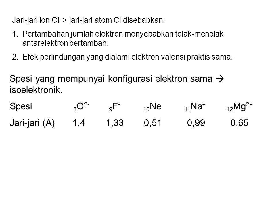 Spesi yang mempunyai konfigurasi elektron sama  isoelektronik.