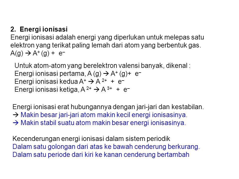 2. Energi ionisasi Energi ionisasi adalah energi yang diperlukan untuk melepas satu elektron yang terikat paling lemah dari atom yang berbentuk gas.