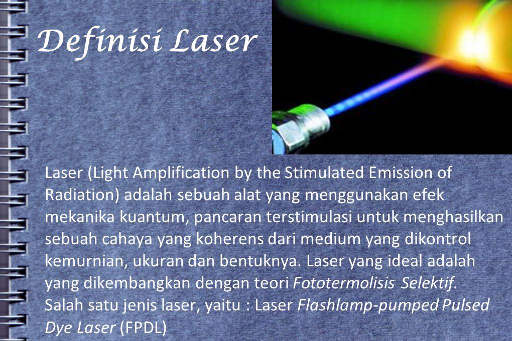 Definisi Laser Laser (Light Amplification by the Stimulated Emission of. Radiation) adalah sebuah alat yang menggunakan efek.