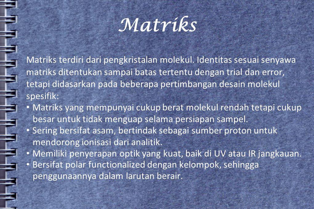 Matriks Matriks terdiri dari pengkristalan molekul. Identitas sesuai senyawa.