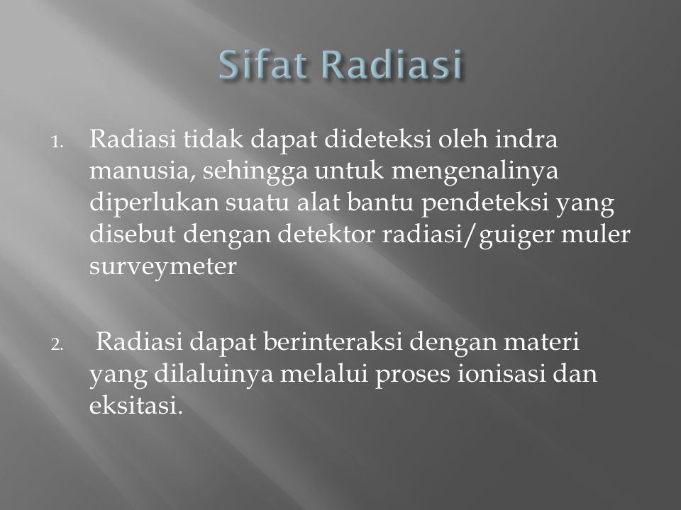 Sifat Radiasi