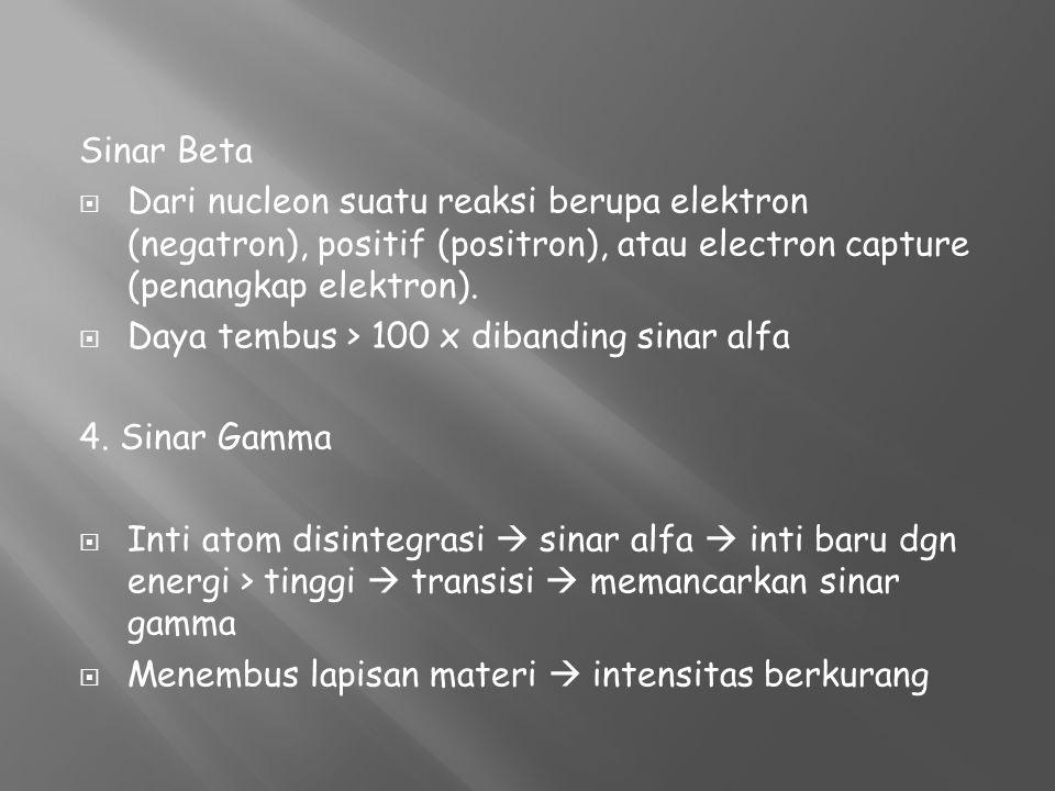 Sinar Beta Dari nucleon suatu reaksi berupa elektron (negatron), positif (positron), atau electron capture (penangkap elektron).