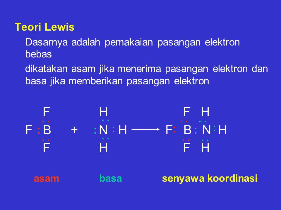 Teori Lewis Dasarnya adalah pemakaian pasangan elektron bebas.