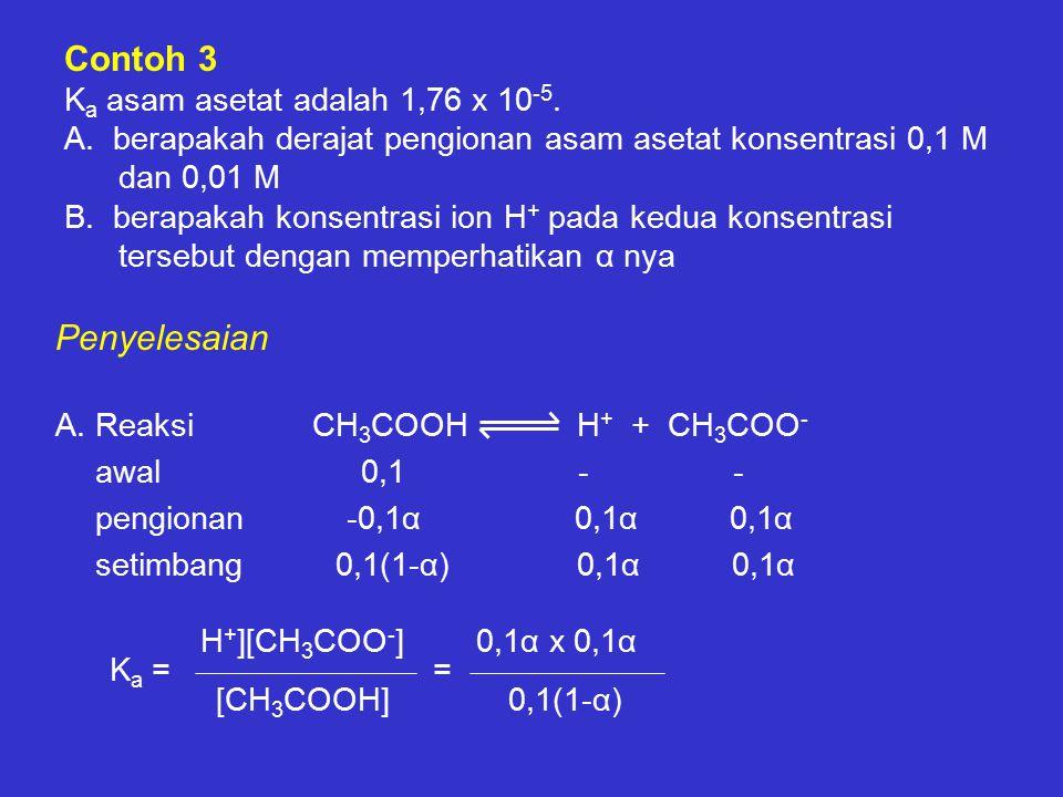 Contoh 3 Ka asam asetat adalah 1,76 x 10-5. A