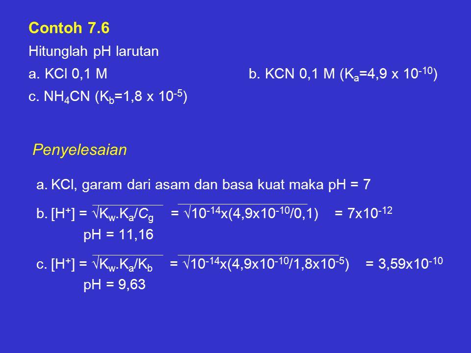 Contoh 7. 6 Hitunglah pH larutan a. KCl 0,1 M. b
