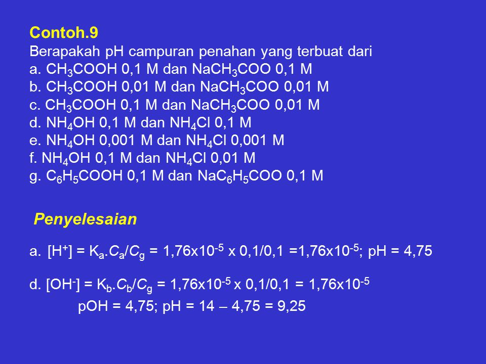 Contoh. 9 Berapakah pH campuran penahan yang terbuat dari a
