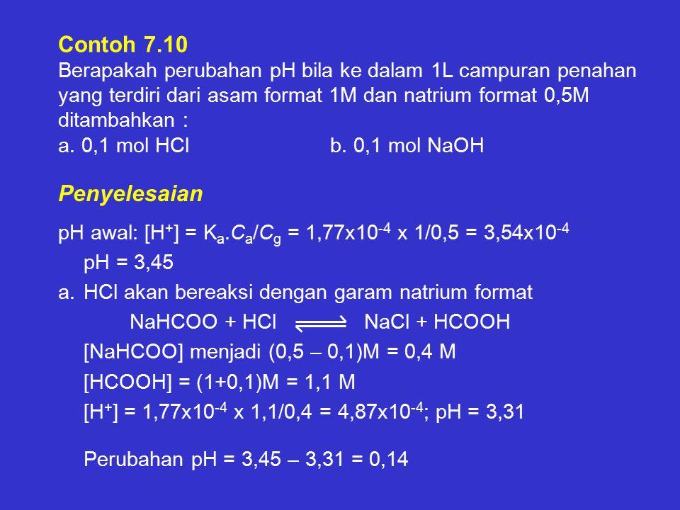 Contoh 7.10 Berapakah perubahan pH bila ke dalam 1L campuran penahan yang terdiri dari asam format 1M dan natrium format 0,5M ditambahkan : a. 0,1 mol HCl b. 0,1 mol NaOH