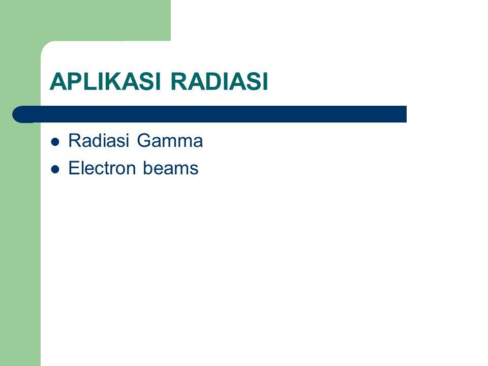 APLIKASI RADIASI Radiasi Gamma Electron beams
