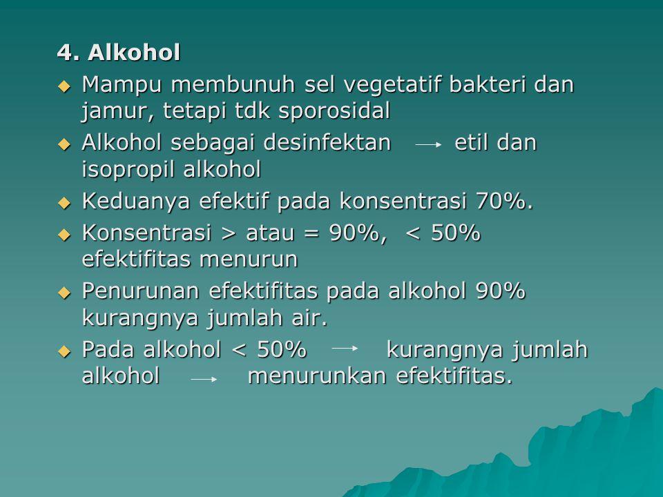 4. Alkohol Mampu membunuh sel vegetatif bakteri dan jamur, tetapi tdk sporosidal. Alkohol sebagai desinfektan etil dan isopropil alkohol.