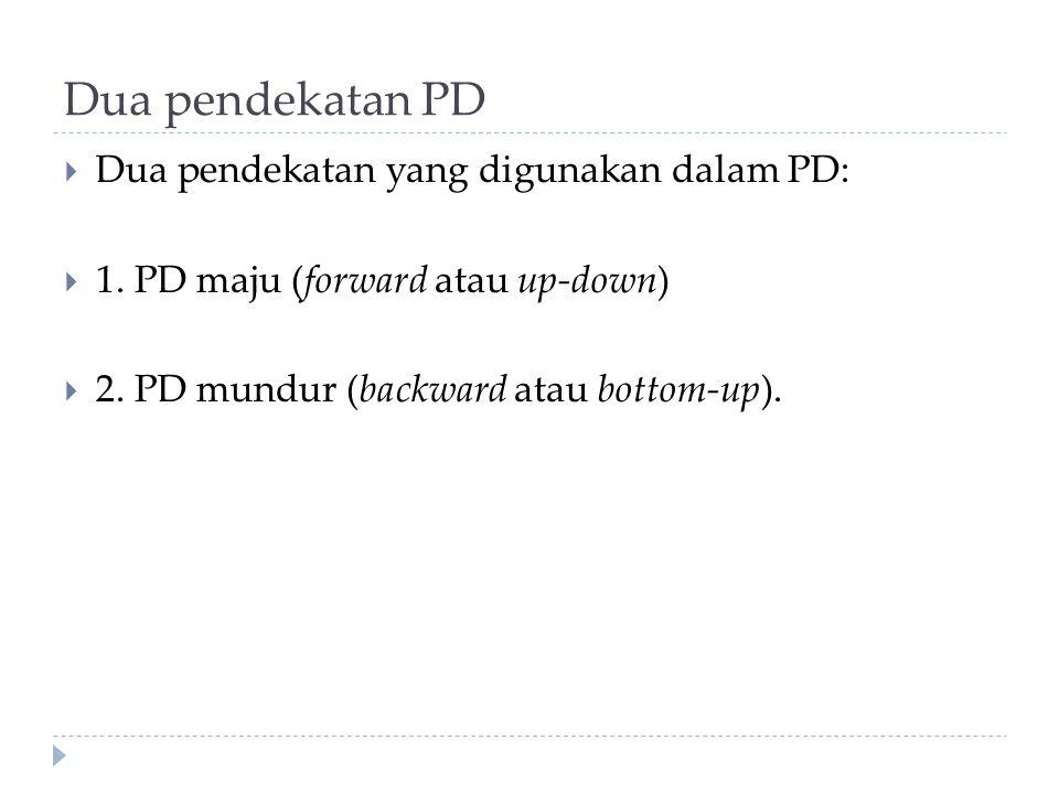 Dua pendekatan PD Dua pendekatan yang digunakan dalam PD: