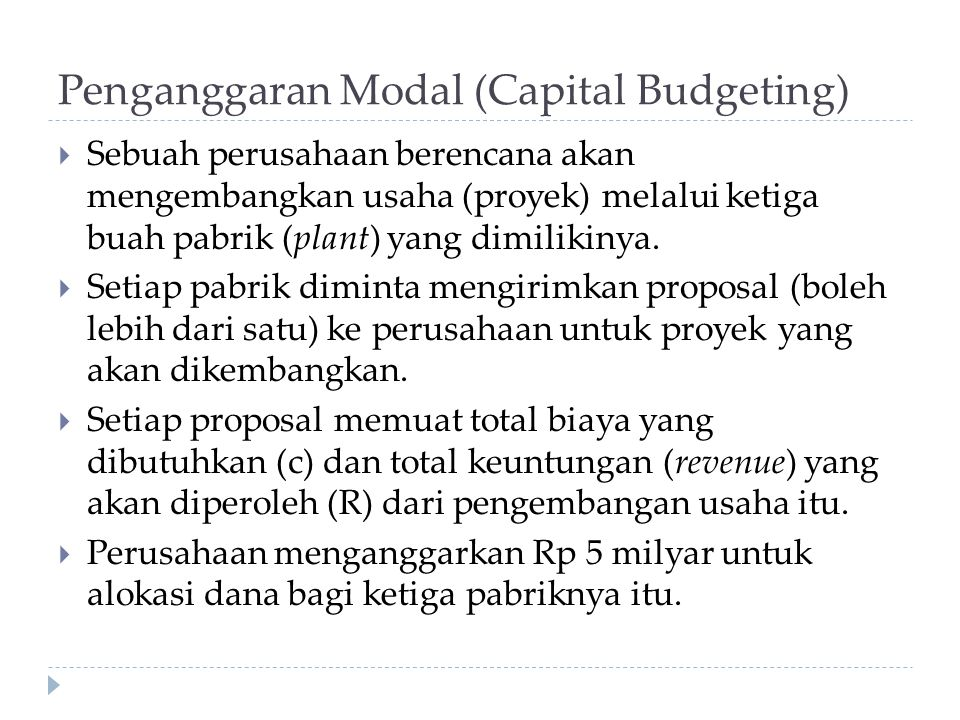 Penganggaran Modal (Capital Budgeting)
