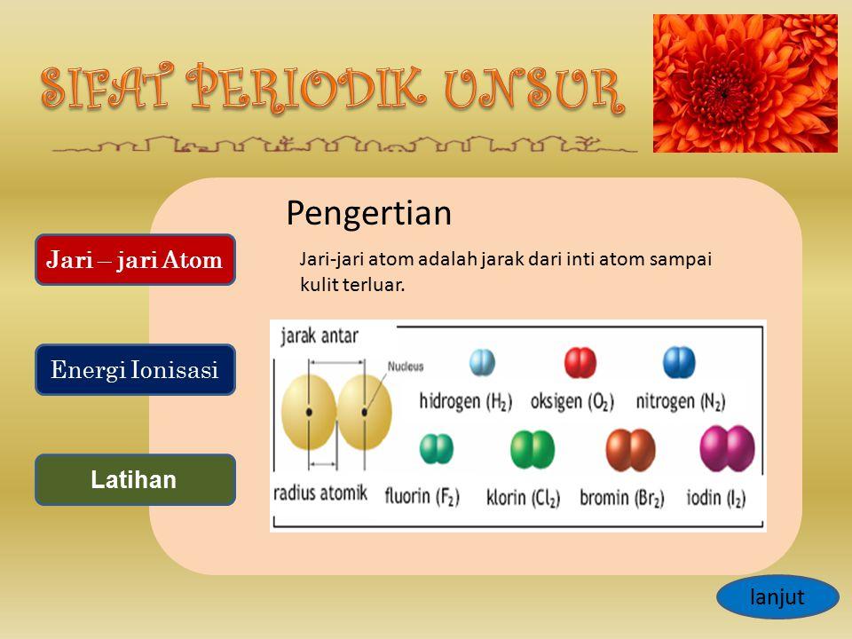Pengertian Jari-jari atom adalah jarak dari inti atom sampai kulit terluar. lanjut