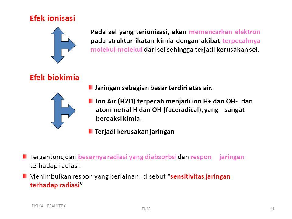 Efek ionisasi Efek biokimia
