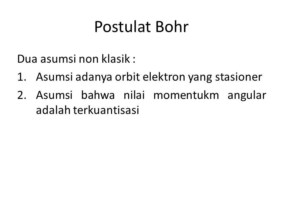 Postulat Bohr Dua asumsi non klasik :