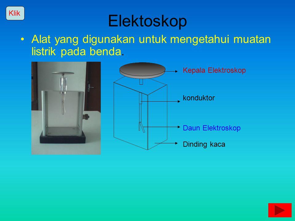 Klik Elektoskop. Alat yang digunakan untuk mengetahui muatan listrik pada benda. Kepala Elektroskop.