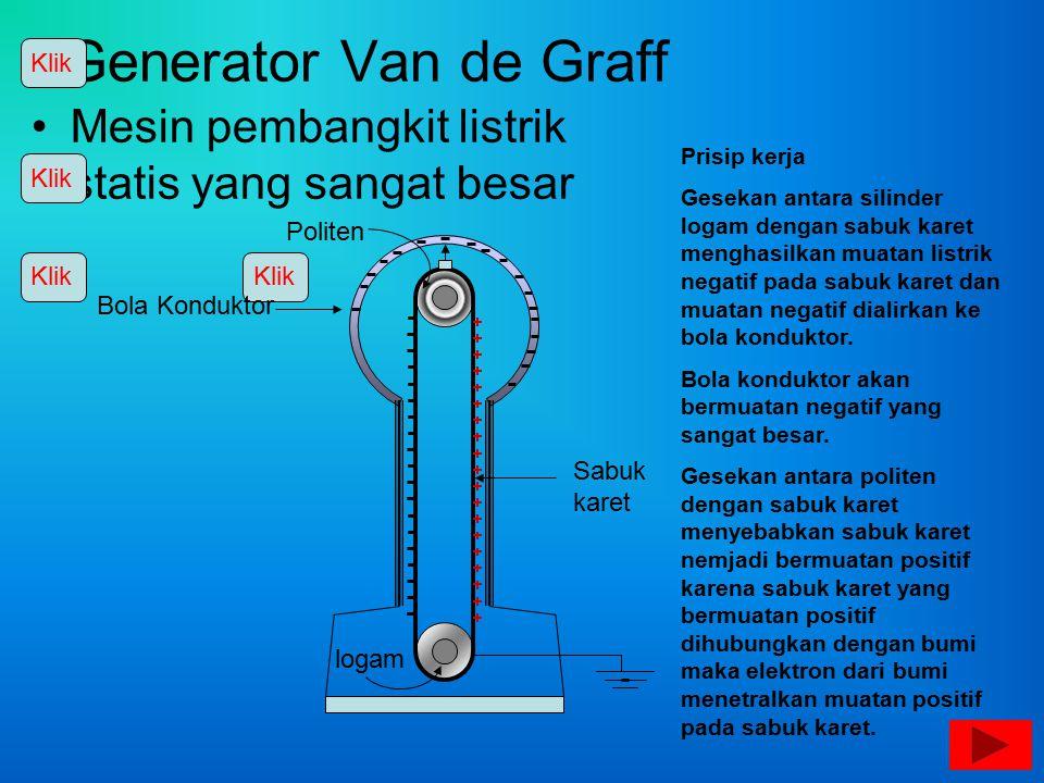 Klik Generator Van de Graff. Mesin pembangkit listrik statis yang sangat besar. Prisip kerja.