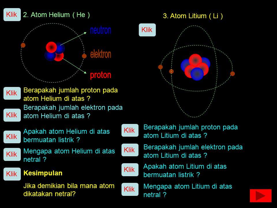 Klik 2. Atom Helium ( He ) 3. Atom Litium ( Li ) Klik. neutron. elektron. proton. Berapakah jumlah proton pada atom Helium di atas