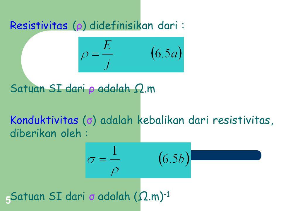 Resistivitas (ρ) didefinisikan dari :