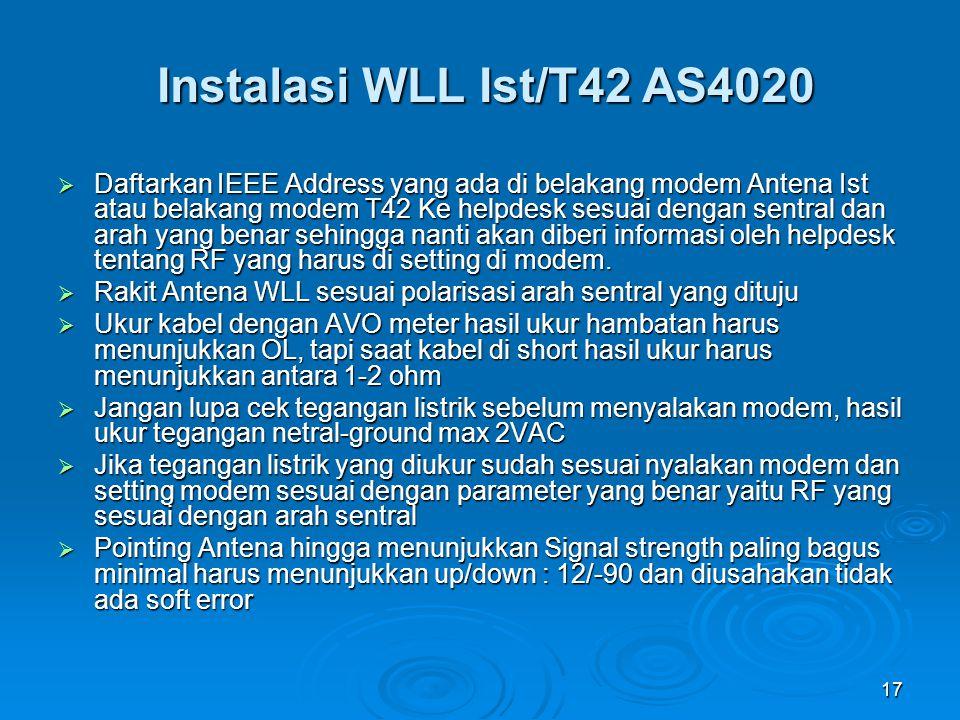 Instalasi WLL Ist/T42 AS4020