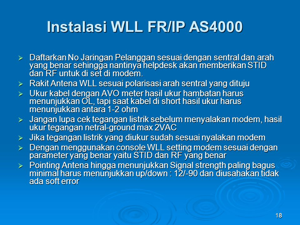 Instalasi WLL FR/IP AS4000