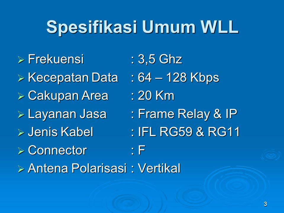 Spesifikasi Umum WLL Frekuensi : 3,5 Ghz